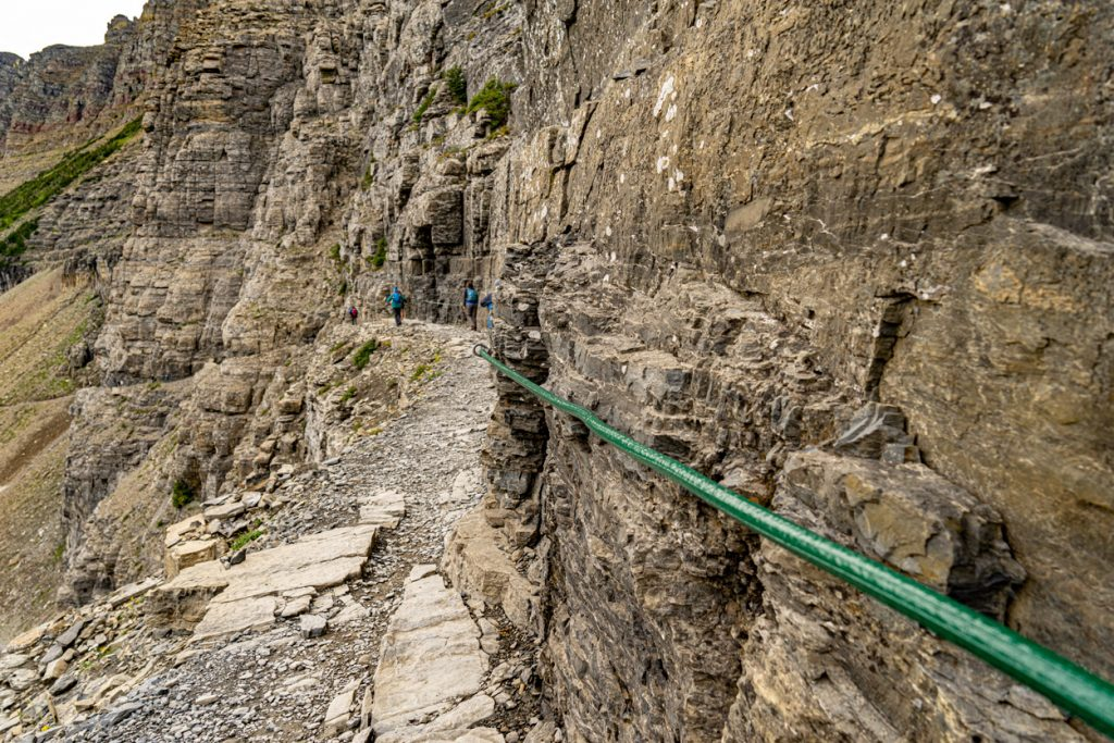 rope on mountainside for Highline to the loop